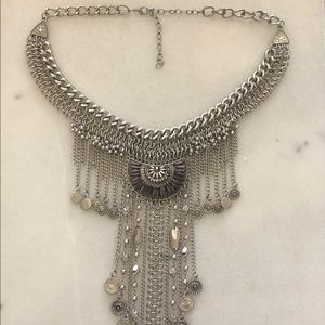 Oversized silver statement necklace